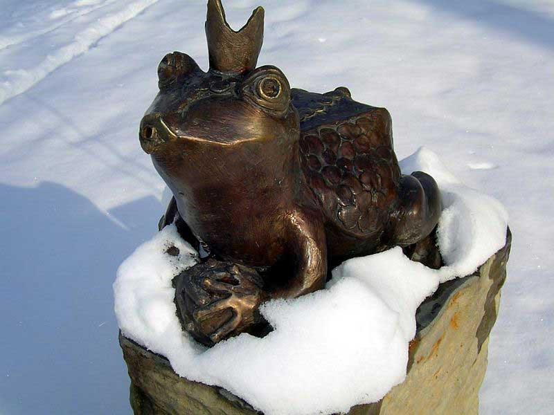 Frog fountain in winter