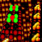 Chloratome ordnen sich in einem bestimmten Muster auf der Oberfläche an und lösen einzelne Platinatome aus der Struktur – der Beginn der Korrosion, dargestellt als Rastertunnel-Mikroskopie-Bild und als Kugelmodell. (Bild: Bertel/JACS)