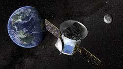An artist's illustration of the Transiting Exoplanet Survey Satellite TESS.