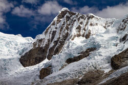 This image shows the Artesonraju Glacier in Cordillera Blanca, Peru.
