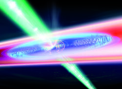 The cigar-shaped particle cloud is locally heated with a power-modulated laser beam (green).