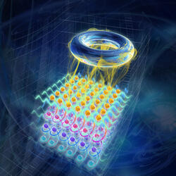 An ultracold gas of atoms trapped in an optical lattice is particularly well suited for its experimental realization.