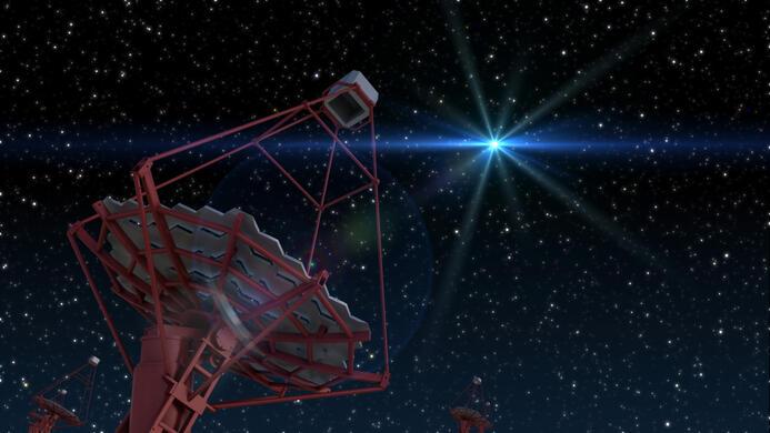 ein CTA Teleskop im Lichte eines Gamma Ray Burst