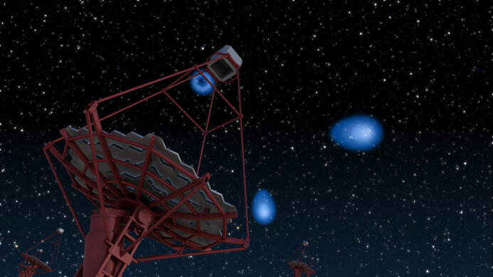 ein CTA-Teleskop mit Cherenkov-Lichtblitzen