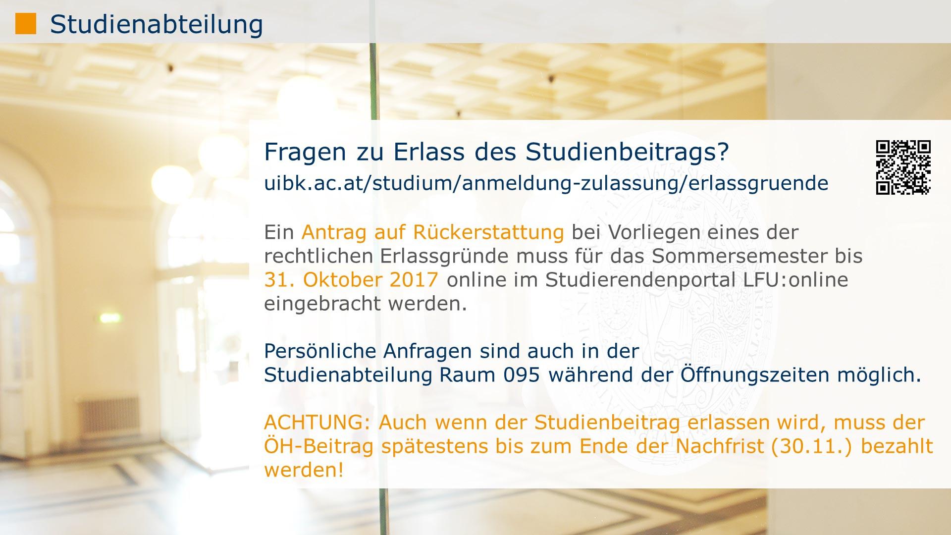 Erlass (ab 1  Oktober 2017) – Universität Innsbruck