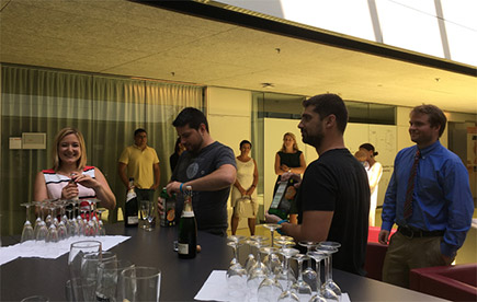 well deserved champagne after Eva's PhD defense, August 2018